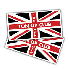 2x Ton up club black and red union jack stickers, 90 x 46mm cafe racer, bike