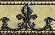 Chunky Wrought Iron Fleur de Lis Peel & Stick Wallpaper Border QA4W0551