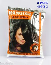 Lot 3 Pack Rangoli Natural Extracts BLACK Henna Power For Hair (40gX3=120gms)