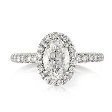 1.66 CARAT D SI1 NATURAL CERTIFIED OVAL DIAMOND ENGAGEMENT RING SET IN 18K