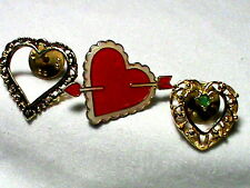 3   lapel Valentines Day Heart Pins