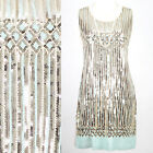 EMBELLISHED GREAT GATSBY PASTEL 1920s FLAPPER CHARLESTON SEQUIN DRESS SIZE L/12