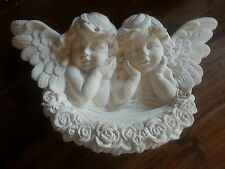 Architectural ornate plaster double cherub angel faces wings wall decor plaque