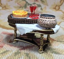 Bespaq/Pat Tyler Dollhouse Miniature Table W/Wicker Tray Drape Pot & Books