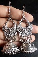 Antique Silver Plated India Jhumka Earrings Ball bead Set b