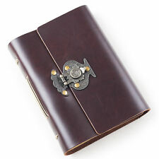 Ancicraft Leather Journal with Vintage Flower Vase Lock A6 Blank Paper Unique
