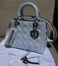 Auth Christian Dior LADY DIOR Bag Baby BLUE Leather w/ Crystal STRAP NIB, RARE!!