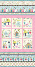 Pink Garden Party Tea party panel 24x44in  cotton