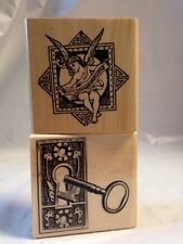 Victorian Door Skeleton Key Hole Angel Cherub Musical Notes scroll Rubber Stamps