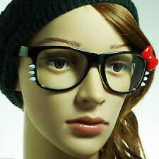 HELLO Kitty Nerd Bow Party Oversize Women Frame Clear Lens Eye Glasses BLACK/RED