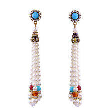 NEW ZARA ELEGANT WHITE PEARLS TURQUOISE BLUE STONES 3,5'' DROP DANGLE EARRINGS