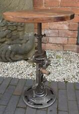 Industrial style iron side table-moving gears-hauteur réglable-bois haut