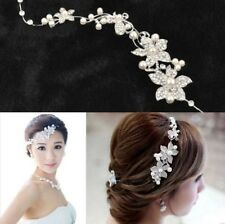 New Women Bridal Wedding Jewelry Flower Pearl Crystal Head Clip Hair Accessories