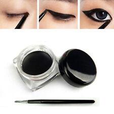 Fashion Waterproof Eye Liner Eyeliner Gel Makeup Cosmetic + Brush Black ONE SET