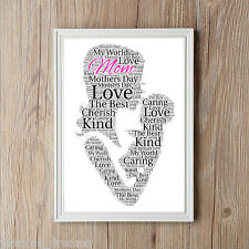 MOTHERS DAY MOM PERSONALISED A4 WORD ART PRINT GIFT BEST PRESENT
