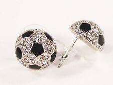 Crystal Earrings Soccer Ball Silver Plated Stud Pierced Earrings