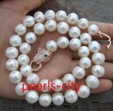 HUGE AAA 11-13MM NATURAL SOUTH SEA WHITE PEARL NECKLACE 18  INCH