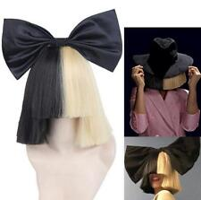 Women Wigs Short  With Bow Straight Cosplay Sia Half Blonde and Black Halloween