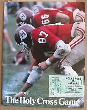 Harvard vs Holy Cross September 27, 1986 Football Program with ticket & article