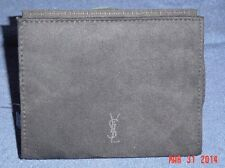 NWT-Yves Saint Laurent Small Black Suede Cosmetic Makeup Bag w/ Mirror-Seal Wrap