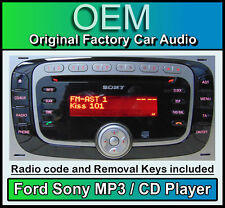Ford Sony CD MP3 player, Ford Fiesta car stereo radio with code and release keys