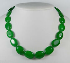 Natural Handmade 13x18mm Oval Green Jade Gemstones Beads Necklace 17''