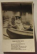 DOWN BY THE FERRY 1906 REAL PHOTO POSTCARD ROW BOAT RPPC LIFE MODEL SERIES