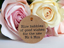 100 x Kraft brown bulk Wedding Bubbles Gift Swing Tags! Great for favours!