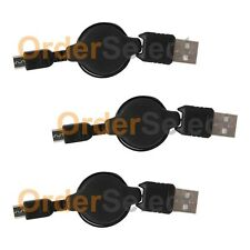 3 USB Black Retractable Micro Battery Charger Data Cable For Android Cell Phone