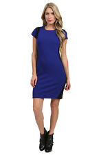 Diane Von Furstenberg 'PELE' NAVY BLUE/BLACK COLORBLOCK SHEATH DRESS sz 12