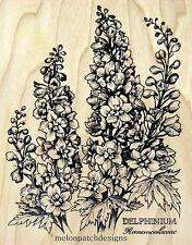 New PSX K-2554 DELPHINIUM Botanical Rubber Stamp XX-Rare
