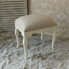 Cream Wooden Padded Stool Shabby French Chic Vintage Ornate Bedroom Make Up Seat