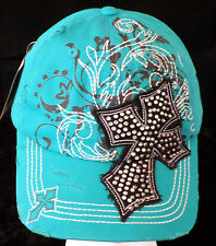 Women's Distressed Vintage Style Cross Rhinestone Bling Baseball Cap - Turquoise