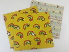 Vintage Wrapping Paper Lot Rainbow Ice Cream '80's LGBT Retro 3pc C5