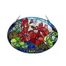"""Tiffany Style Stained Glass Flowers Window Panel  CH1P514GF24-GPN 24 X 18"""" New"""