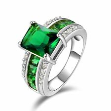 Size 9 Men Women Solitaire Princess Cut Band Emerald 10KT Gold Filled AAA Rings