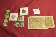 "WW2 German Third Reich ""Hitler Stamps"" & Nazi banknote & Coins..(lot H1)"