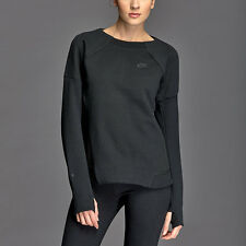 Nike Womens Tech Fleece Mesh Crew Sweatshirt - Sz Medium - 725852 010 - Black