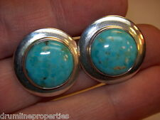 STERLING SILVER 925 ESTATE JAY KING MINE PALE BRIGHT BLUE TURQUOISE EARRINGS