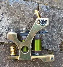 BORDER TATTOO MACHINE SOFT-SHADER BRASS FRAME GREEN 8-LAYER CUSTOM COILS