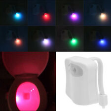Human Motion Sensor Automatic Toilet Seat LED 8 Color Night Light Bowl Bathroom