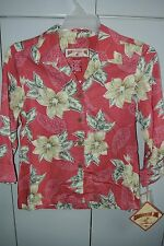 Caribbean Joe  Womens Small  Lush Tiare on Rose Red Woven Rayon L/S/NWT