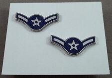 US Air Force Metal Collar Rank Insignia Airman E-2 Pair