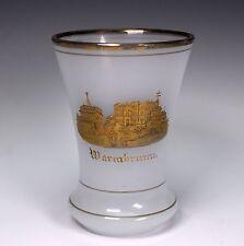 White Opaline Gold Etch German Bohemian Spa Glass Tumbler