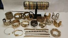 Gold Color bracelets 80 LOT Bangles Cuff Chain Wrap Hinged Rhinestone MORE