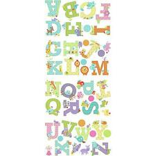 ANIMAL ALPHABET LETTERS wall stickers 43 decals ABC scrapbook stickups  nursery