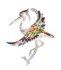 BROOCH/PIN ST Clear Rhinestones & Colorful Enamels GIANT FANTASY CRANE