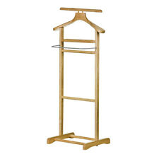 Floor Standing Clothes Valet Rubberwood Stainless Steel Organizer Storage Rack