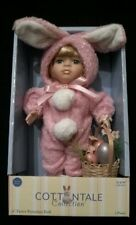 """Cottontale Collection 9"""" Porcelain Doll Holding Easter Basket & Bunny Costume"""