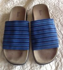"BASS ""LAILA"" BLUE MULTI-STRIPED SLIDES SANDALS ~ Ladies Size 8M"